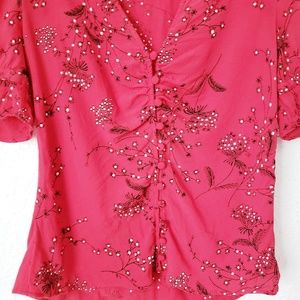 Madewell Tops - Madewell Red Floral Button Down V-Neck Blouse 082
